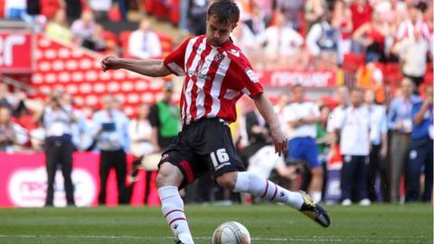 Andy Taylor fails to score in the League One play-off final for Sheffield United v Huddersfield at Wembley, May 2012