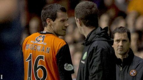Ryan McGowan and Ronny Deila exchange words after the United defender was sent off.