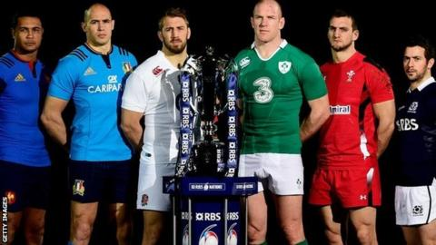 Six Nations captains and the 20-15 trophy