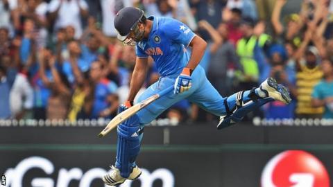 Rohit Sharma celebrates scoring his century