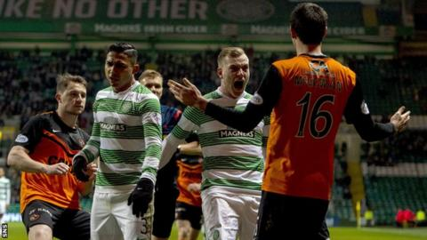 Ryan McGowan was red carded for a foul on Celtic's Liam Henderson.