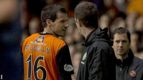 Ronny Deila felt the referee was correct to send off Ryan McGowan.