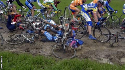 A crash on the Paris-Roubaix cobbles