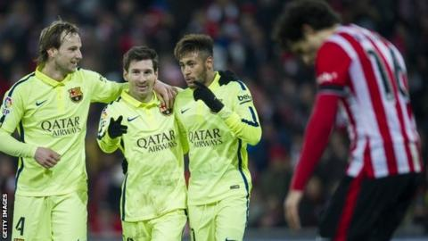 Barcelona celebrate against Athletic Bilbao