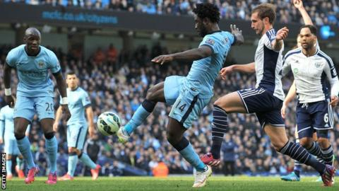 Wilfried Bony scores for Manchester City