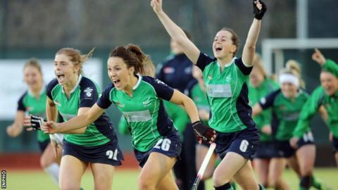 Ireland trio Kathryn Mullan, Anna O'Flanagan and Emma Smyth celebrate beating Canada on penalties