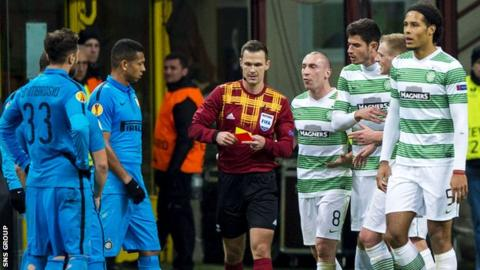Celtic's Virgil Van Dijk is sent off after a second yellow from referee Ivan Kruzliak