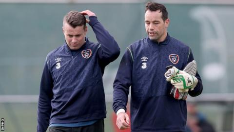 Shay Given with David Forde at Republic of Ireland training on Monday