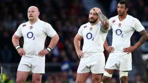 Dan Cole (right) and his England colleagues deal with Saturday's disappointment against France