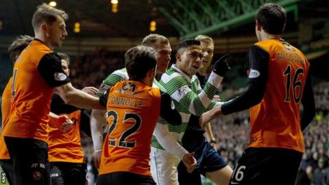 Ryan McGowan received a late red card against Celtic in the Scottish Cup replay