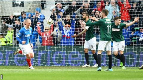 Rangers' Kenny Miller (left) and Lee Wallace both scored in 2-0 win over Hibs