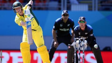 Australia's Steve Smith and New Zealand's Luke Ronchi
