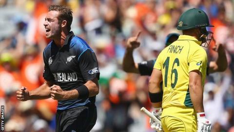 New Zealand's Tim Southee celebrates a wicket against Australia