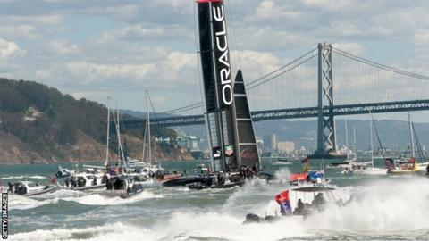 Oracle Team USA celebrates a win over Emirate's Team NZ in the 34th America's Cup