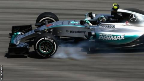 Nico Rosberg driving in practice at the Malaysian Grand Prix
