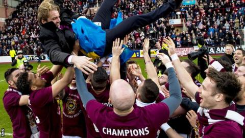 Robbie Neilson celebrated winning the title with his players at Tynecaslte