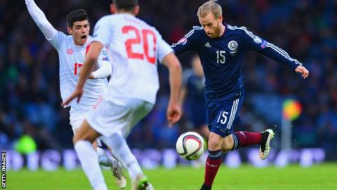 Barry Bannan in action during Scotland's 6-1 win over Gibraltar