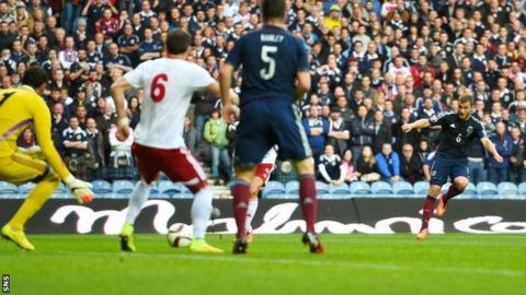 Shaun Maloney's deflected shot gave Scotland a 1-0 win over Georgia at Ibrox