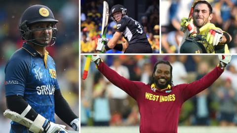 Kumar Sangakkara (left), Martin Guptill (Top centre), Glenn Maxwell (top right), Chris Gayle (bottom right)
