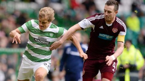 Celtic are monitoring Hearts captain Danny Wilson (right)