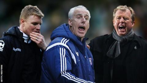 Bournemouth boss Eddie Howe (left), Ipswich boss Mick McCarthy and Derby boss Steve McClaren