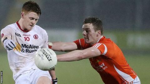 Tyrone's Conor Meyler in action against Fionnan Burns of Armagh