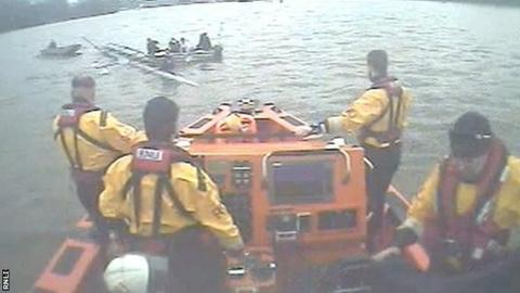 Oxford crew being rescued by RNLI