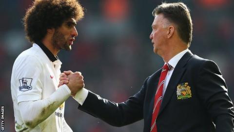 Marouane Fellaini and Louis van Gaal of Manchester United