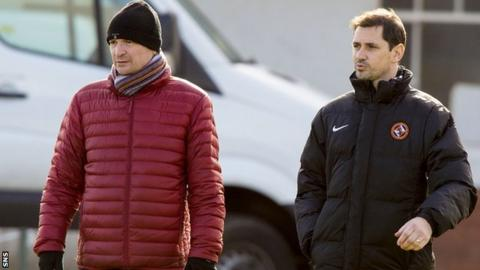 Dundee Utd manager Jackie McNamara (right) and Chairman Stephen Thompson