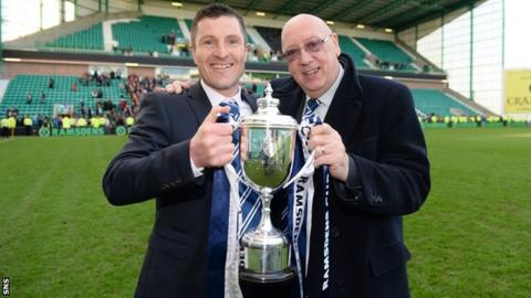 Turnbull Hutton (right) celebrates winning the Scottish Challenge Cup in 2014 with Raith Rovers manager Grant Murray