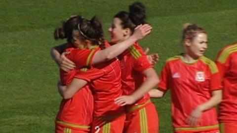 Wales celebrate Helen Ward's goal against Slovakia