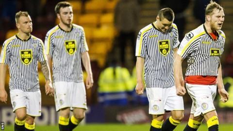 St Mirren captain Marc McAusland (right) shows his frustration