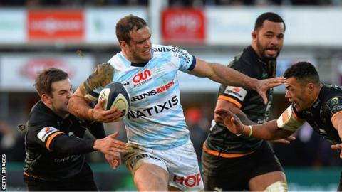 Jamie Roberts in action for Racing Metro against Northampton
