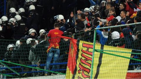 Crowd trouble at Montenegro v Russia