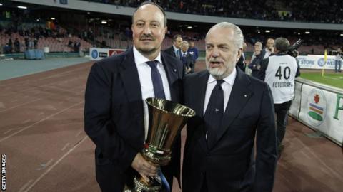 Rafa Benitez and Napoli president Aurelio De Laurentiis