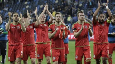 Wales players celebrate their victory in Israel