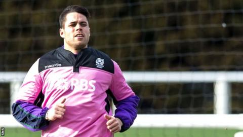 Sean Maitland training with the Scotland squad in March