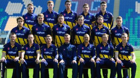 Glamorgan county cricket club line-up for a pre-2015 season team picture