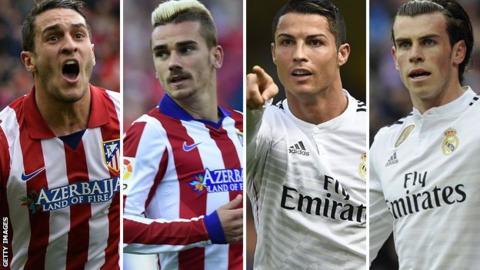 Koke, Antoine Griezmann, Cristiano Ronaldo and Gareth Bale