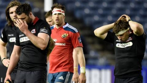 Edinburgh players show their disappointment