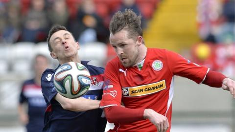 Crusaders winger Paul Heatley collides with Cliftonville defender Marc Smyth during the north Belfast derby at Solitude