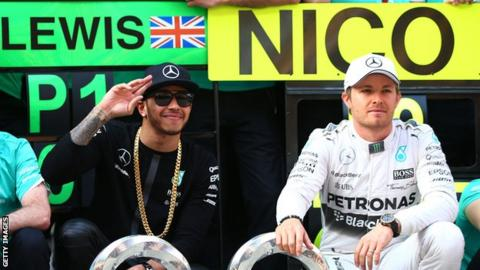 Mercedes team-mates Lewis Hamilton (left) and Nico Rosberg