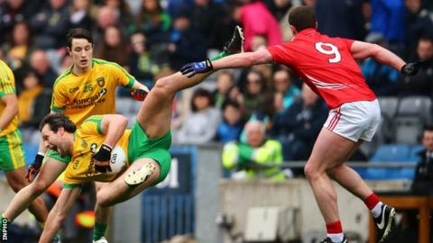 Cork's Fintan Goold tackles Donegal's Michael Murphy at Croke Park