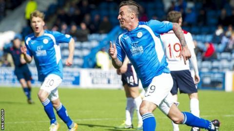 Derek Lyle celebrates his first-half volley