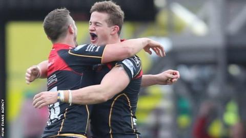 Jason Tovey and Hallam Amos celebrate beating Leinster