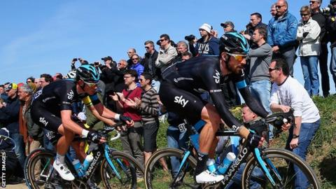 Luke Rowe (left) with Bradley Wiggins (right) at the Paris-Roubaix race