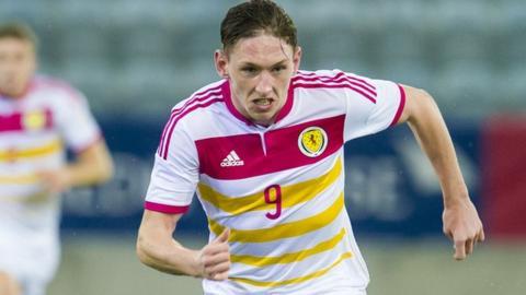 Declan McManus in action for Scotland Under-21s
