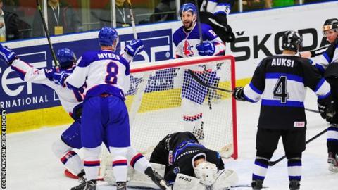 Robert Farmer scores for GB ice hockey