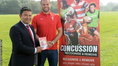 WRU national medical manager Prav Mathema and Wales centre Jamie Roberts
