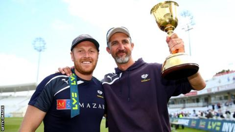 Jason Gillespie (right) with Yorkshire captain Andrew Gale